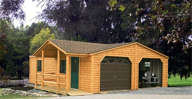 Mr shed double garages for Log cabin garage