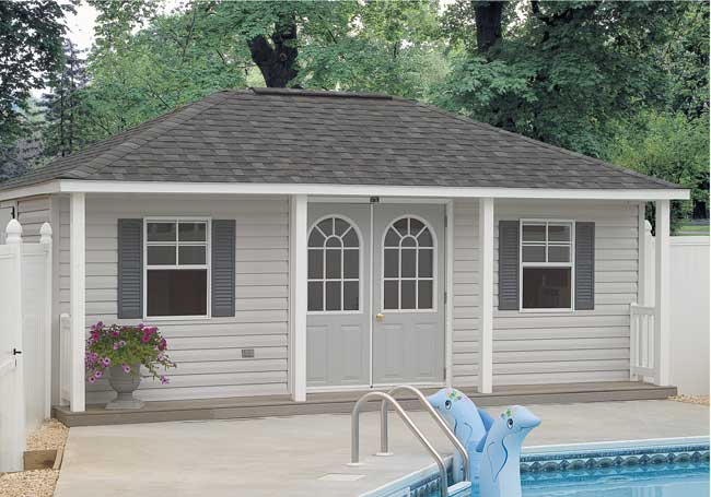 Mr shed poolhouses for Pool house shed plans